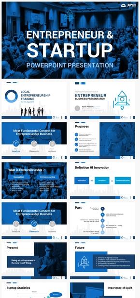 【细节】企业创业融资汇报蓝色商务商业计划书总结ppt模板