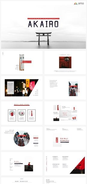 【日系】日本日系红色系创意个性版式多图文混排ppt模板