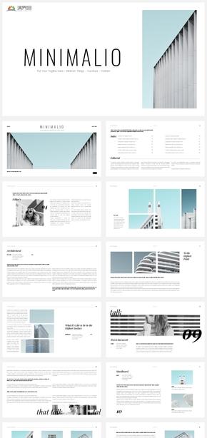 【清新】淡蓝简约建筑风格时尚图文混排杂志风ppt模板