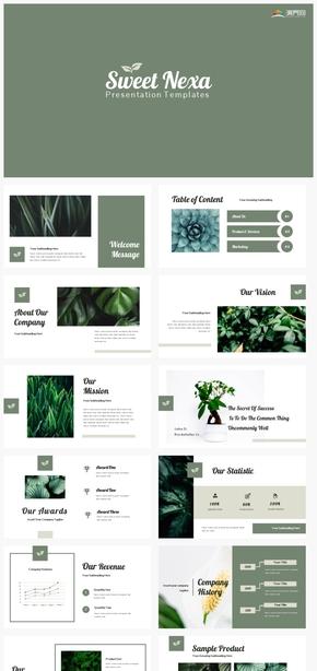 【自然】深绿色植物自然环保叶子简约小清新风格ppt模板