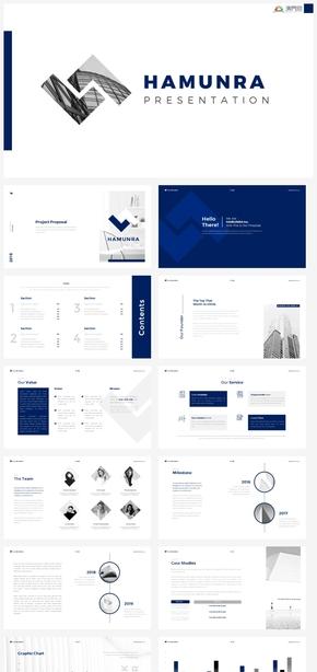 【冷淡】蓝色正式logo设计商务汇报计划总结ppt模板GGSJ1005