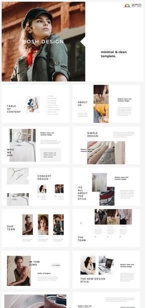 【轻简】时尚简约欧美杂志风时装服饰企业介绍ppt模板GGSJ1009