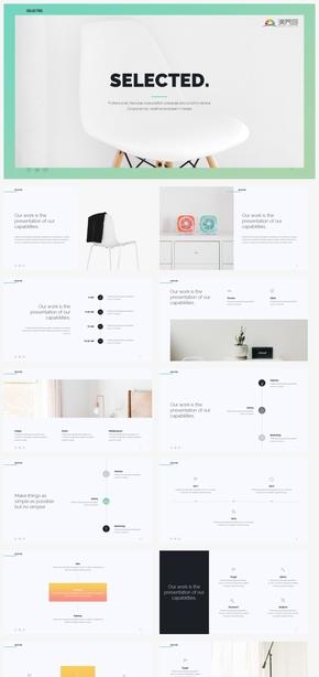 【清新】簡約清新家居家具布置設計時尚干凈風格ppt模板GGSJ198