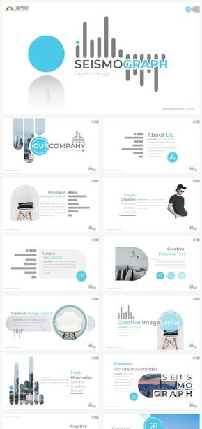 【风尚】蓝色欧美简约创意总结汇报商务商业ppt模板