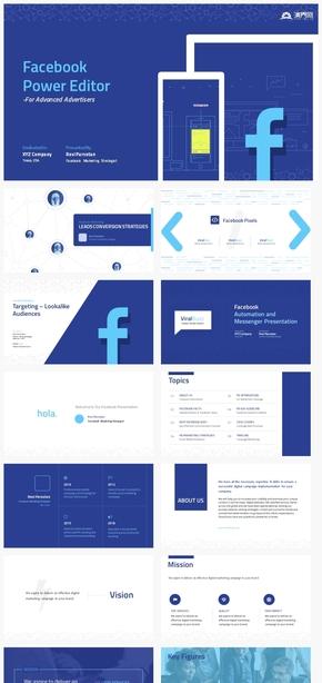 【细节】社交媒体facebook风格互联网风格工作汇报ppt模板