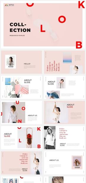 【粉调】时尚创意杂志风粉色女性工作汇报项目提案ppt模板