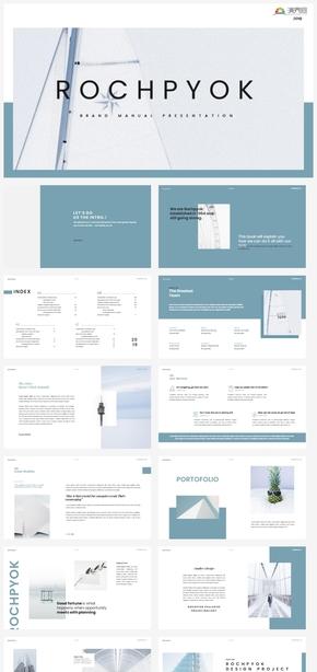 【冷淡】蓝色创意时尚时尚杂志风欧美清新总结计划ppt模板GGSJ1008