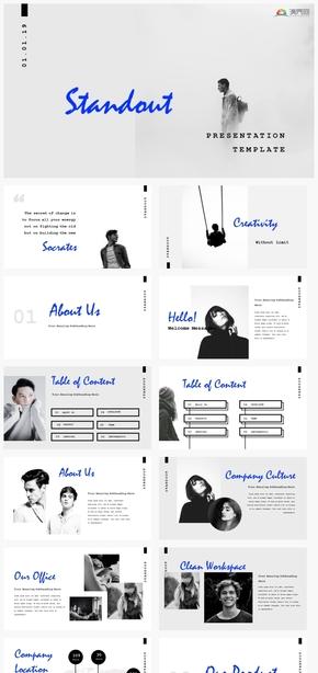 【时尚】艺术时尚感个性设计欧美杂志风格ppt模板