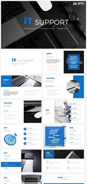 【规则】蓝色IT支持互联网企业介绍工作计划汇报ppt模板