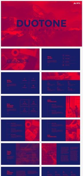 【细节】红蓝双色调工作汇报计划总结创意策划提案ppt模板GGSJ189