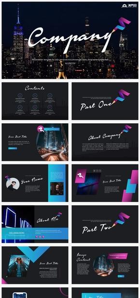 【风尚】蓝紫配色黑底创意个性欧美商务商业ppt模板