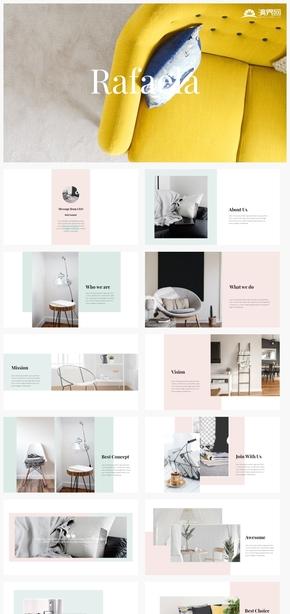 【溫馨】家居家具室內裝飾裝修設計簡約清新風格ppt模板