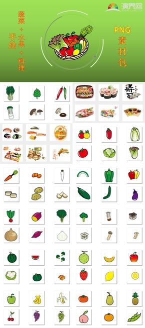 浅色系写实风蔬菜水果料理贴纸PNG素材100+