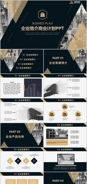 大气时尚黑金企业介绍商业计划PPT模板