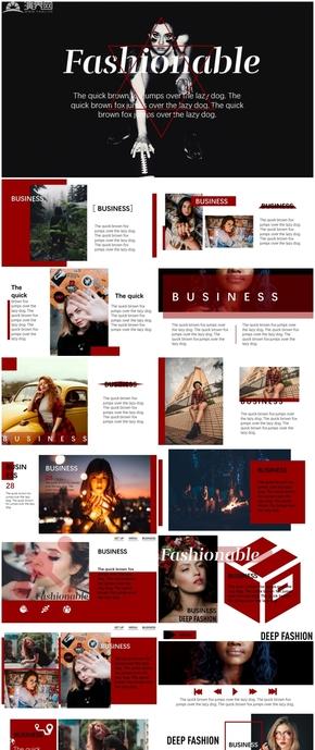 魅力深紅色歐美雜志風PPT模板