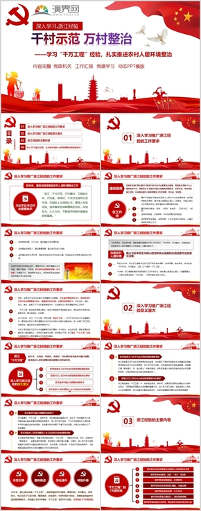 党政深入学习千村示范万村整治工程条例PPT模板