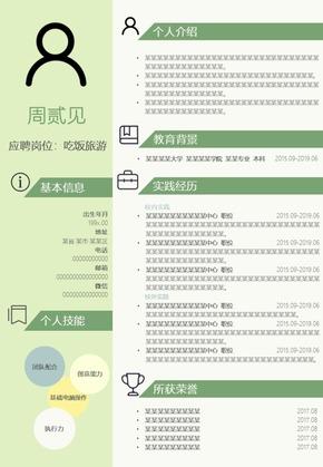 清新绿色个人简历单页PPT模板
