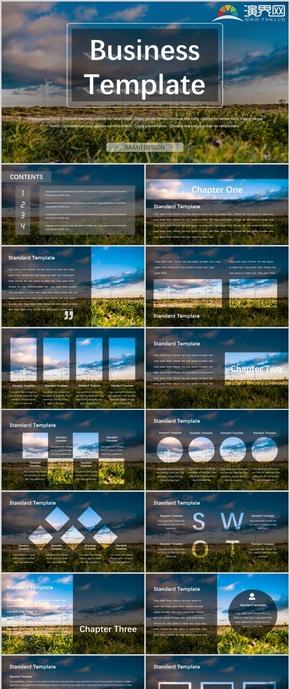 深色大气自然风景简洁商务工作总结模板