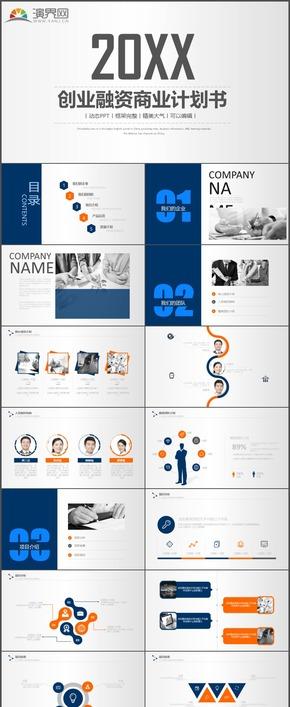 蓝橙创业融资商业计划书项目介绍产品运营发展计划PPT模板29