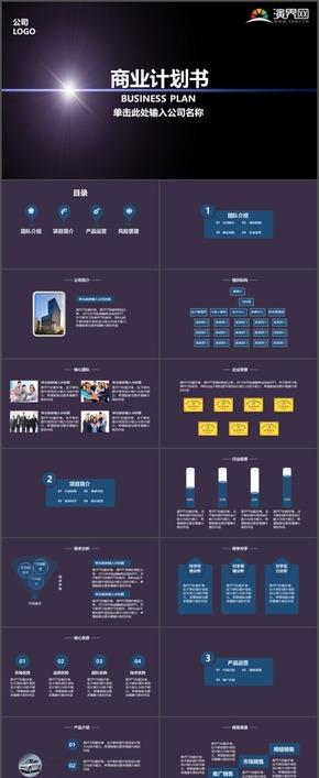 暗紫简约商业计划书企业介绍产品运营市场分析PPT模板1