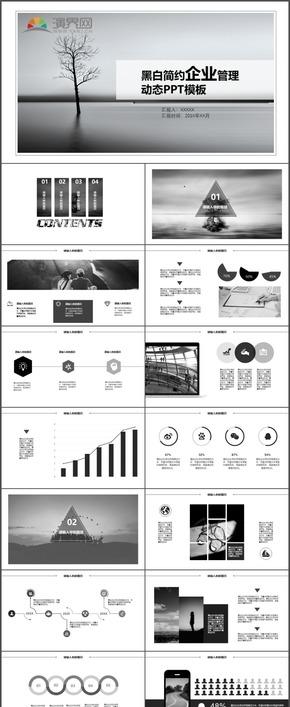 黑白简约企业管理工作计划总结述职报告时尚动态通用PPT模板32