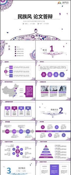 紫色民族风毕业答辩论文毕业论文高校学术报告通用PPT模板4