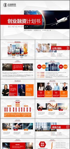 红色创业商务融资计划书商业计划书PPT模板