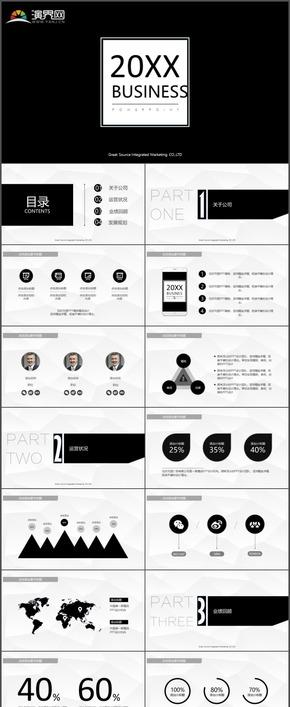 大气黑白高端商务企业宣传市场分析产品运营项目推广PPT模板149