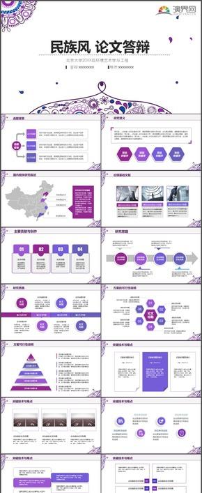 高端紫色民风复古花纹学术报告毕业论文答辩时尚动态PPT模板6