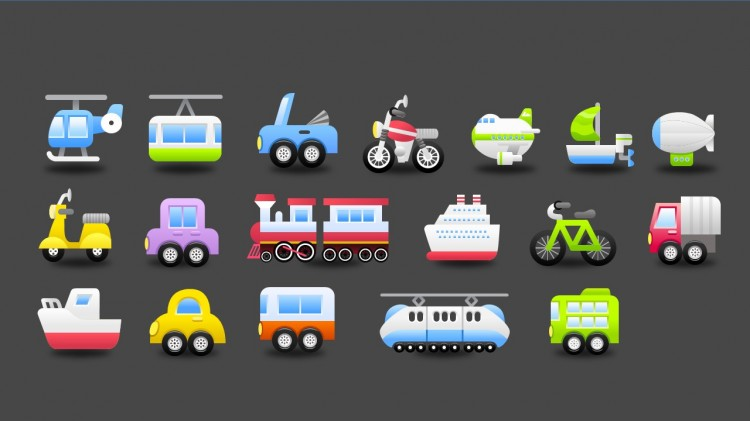 微立体交通工具矢量图