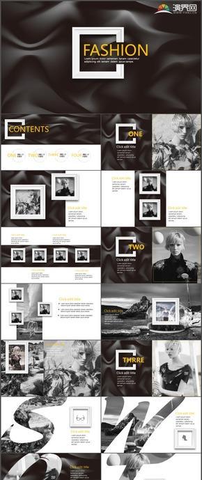 黑色高端商务欧美杂志风企业宣传时尚动态通用PPT模板19