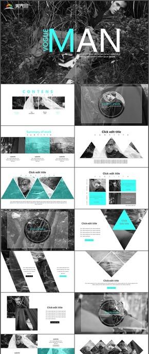 高端商务欧美杂志风企业宣传产品发布时尚动态通用PPT模板25