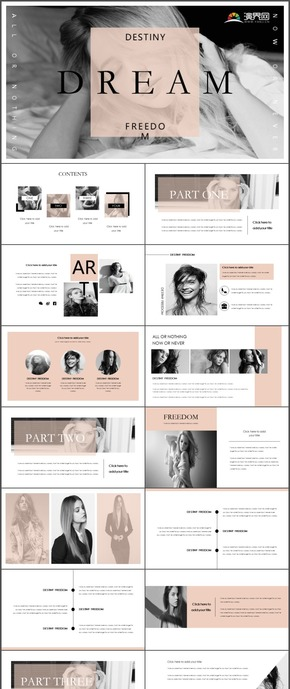 欧美杂志风高端商务企业宣传产品发布时尚动态实用PPT模板24