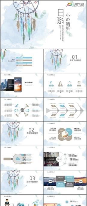 日系小清新商务工作计划报告总结汇报通用PPT模板3
