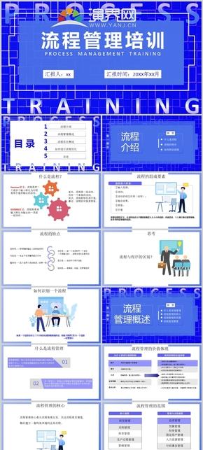 藍色流程管理培訓通用PPT模板
