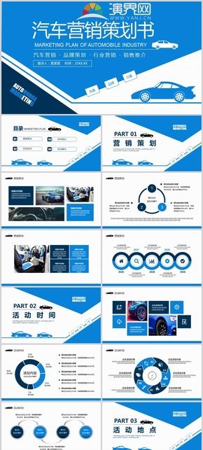 藍色汽車行業營銷策劃書動態PPT模板