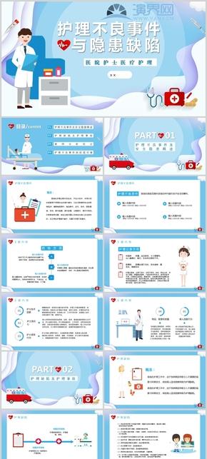 卡通醫院護士醫療護理不良事件介紹PPT模板