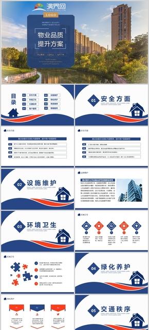 藍色小區物業品質提升方案PPT模板