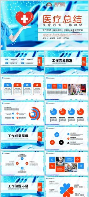藍色醫療行業工作總結動態PPT模板
