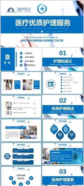 藍色醫療優質護理服務主題報告模板