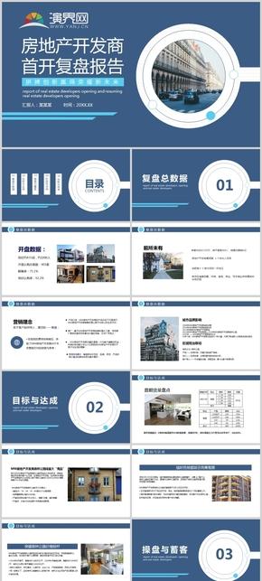 房地產開發商首開復盤報告動態PPT模板