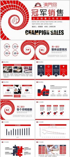 紅色冠軍銷售公司業務銷售工作總結報告PPT模板