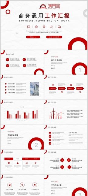 红色实用商务通用工作汇报PPT模板