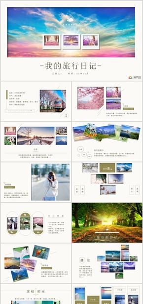 精美旅游相册旅行日记摄影摄像PPT模板