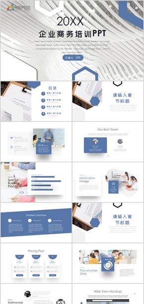 商務藍色大氣商業計劃書PPT模板