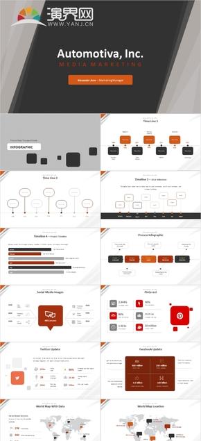 版式简约通用公司简介商业计划书ppt模板