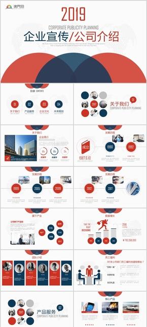 红色商务企业宣传/公司介绍 通用PPT模版