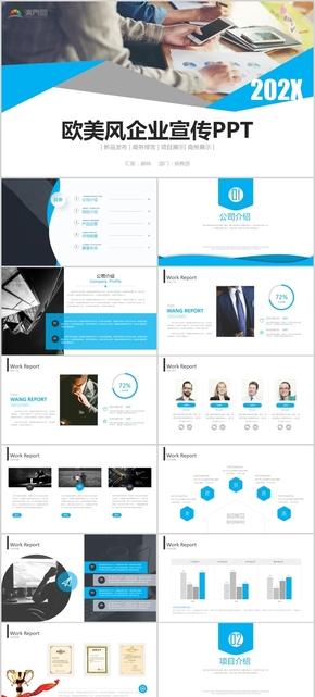 蓝色欧美风创业融资企业宣传商业计划书通用PPT模版