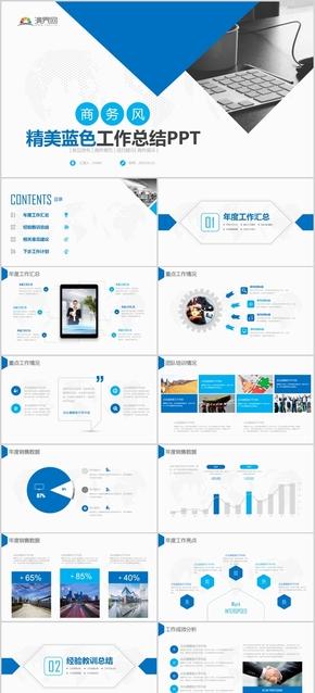 蓝色商务风工作总结简约通用PPT模版