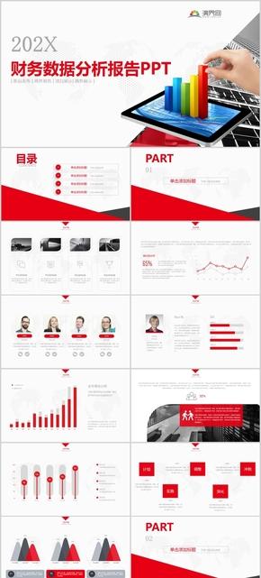 红色商务实用财务数据分析报告通用PPT模版